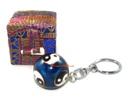 Yin Yang Bao Ding Health Iron Ball Keychain (Blue)