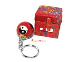 Yin Yang Baoding Health Iron Ball Keychain (Red)