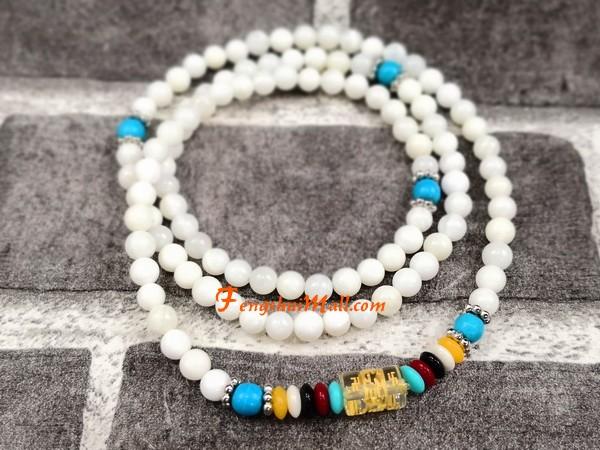 108 White C Mala Beads With Om Mani