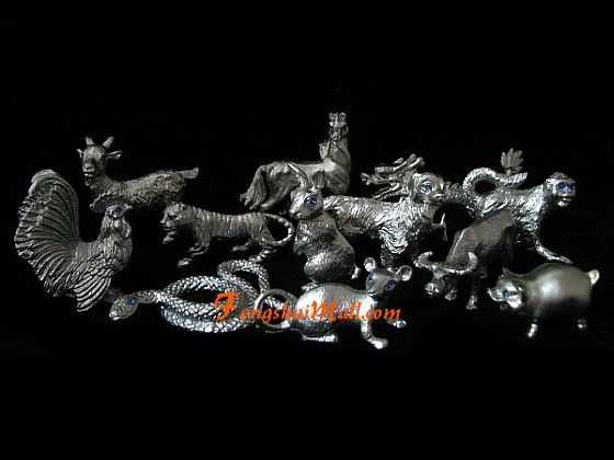pewter 12 chinese horoscope animals feng shui zodiac signs. Black Bedroom Furniture Sets. Home Design Ideas