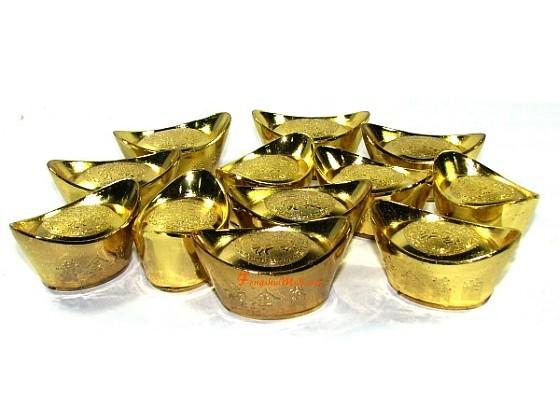 12 Pieces Feng Shui Prosperity Gold Ingots Set L