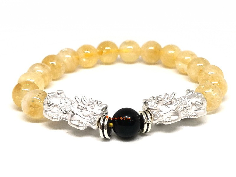 A Pair Of 925 Silver Pi Yao With Citrine Bracelet Feng