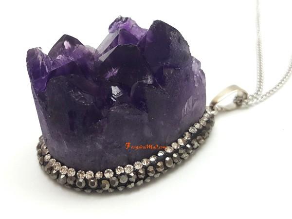 Amethyst Geode Bejeweled Pendant :: Feng Shui Crystal Jewelry