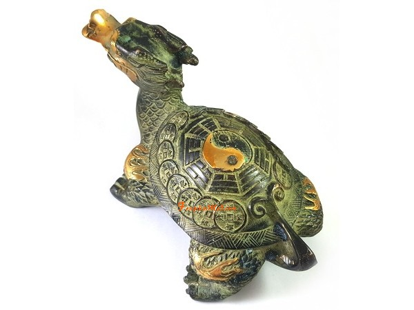 Antiquated Brass Feng Shui Dragon Tortoise M Feng