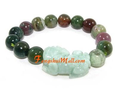 Jade Pi Yao Bloodstone Lucky Charm Bracelet :: Feng Shui Wealth