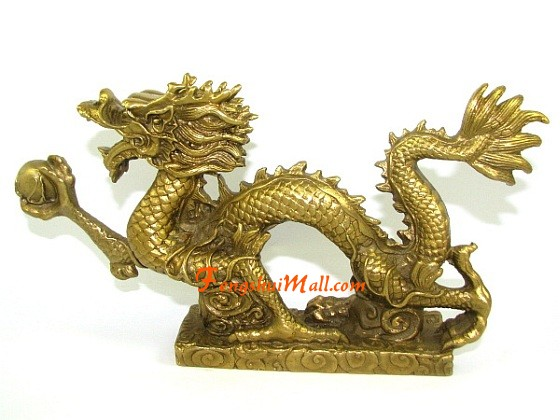 Chinese Brass Feng Shui Five Dragon Loong Dragons Bead Animal Statue