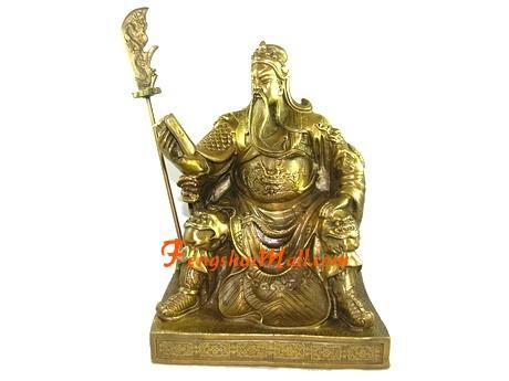 Brass Sitting Kwan Kung of Wisdom Reading Book
