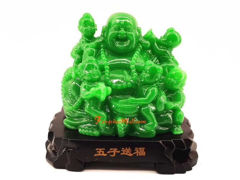 Laughing Buddha with Five Kids