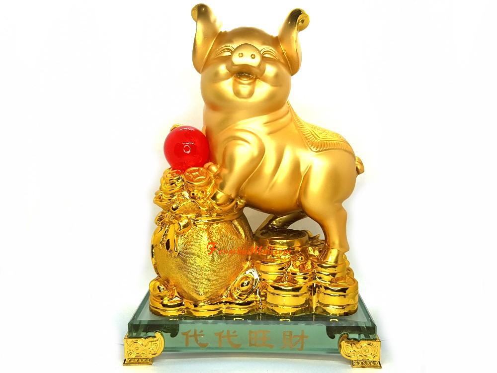 """2/"""" Feng Shui Gold Pig Set"""