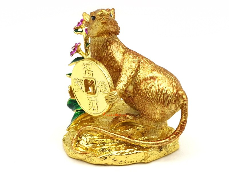 Golden Rat Holding Coin With Feng Shui 2020