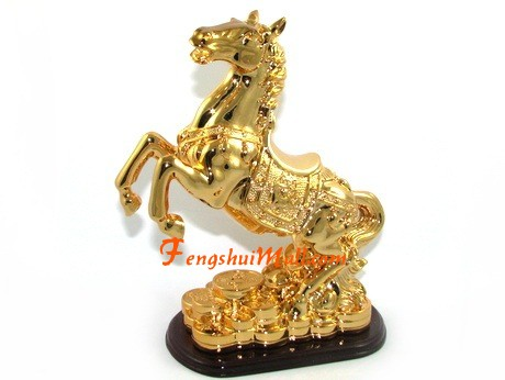 Feng Shui Golden Horse On Bed Of Coins L Fengshui Store