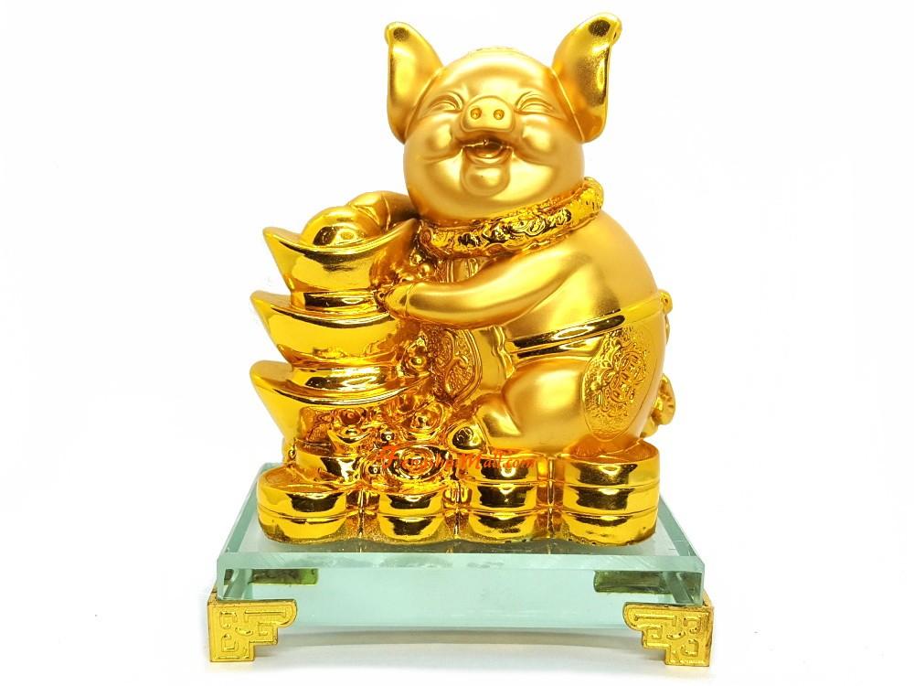 Prosperity Golden Pig With Gold Ingot Feng Shui 2019 Boar