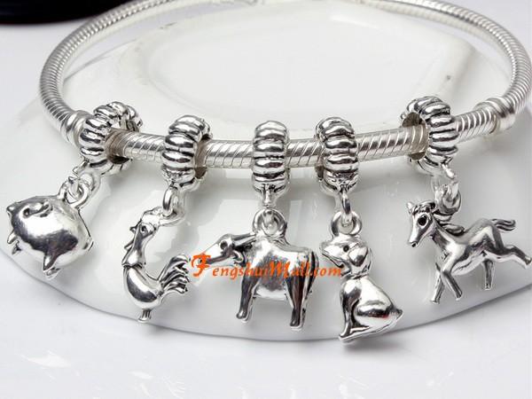 7d526b9a4 Silver Plated 12 Cute Chinese Zodiac Animal Dangle Pendant Charm ...