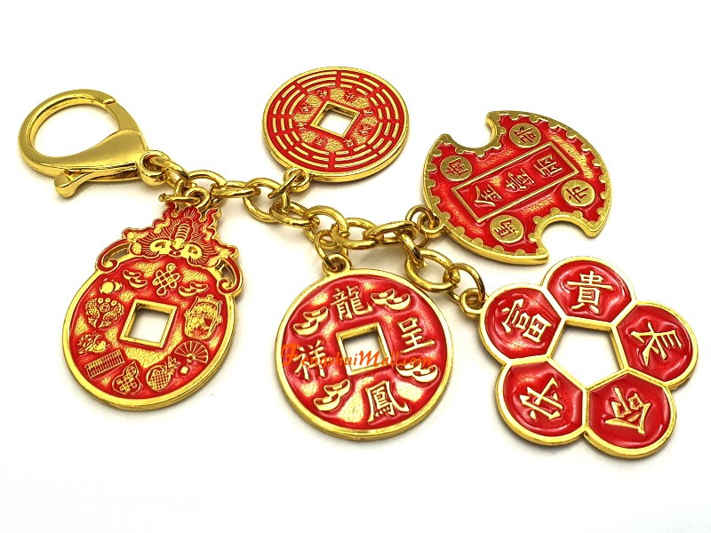 Success And Wealth 5 Amulet Coins Keychain Feng Shui 2020