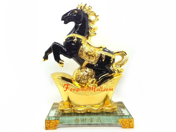 Chinese Bronze Animal Fengshui 12 Zodiac Year Horse Battle Steed Pendant Statue