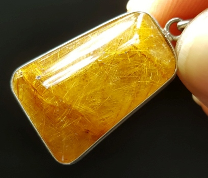 Golden Rutilated Quartz Framed Pendant