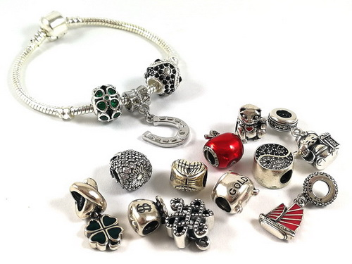 Assorted Lucky Charm Silver Beads